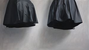 Hovering form of two pieces of leather by Ruozhe Xue contemporary artwork