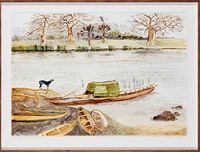 Postcards From Africa: West African Native life and scenes: Dugout Canoes by Sue Williamson contemporary artwork works on paper
