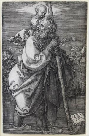 Der heilige Christophorus mit zurückgewandtem Kopf by Albrecht Dürer contemporary artwork print
