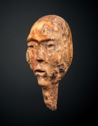 Head of a shamanic figure by Arctic Circle contemporary artwork sculpture