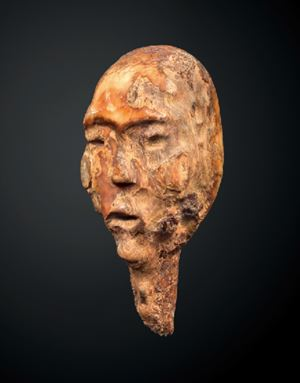 Head of a shamanic figure by Eskimo contemporary artwork
