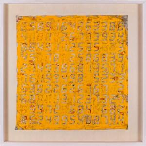 Counter Painting on KIMONO-Yellow by Tatsuo Miyajima contemporary artwork