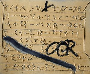 Signes sobre matèria / Signs on matter by Antoni Tàpies contemporary artwork painting, sculpture