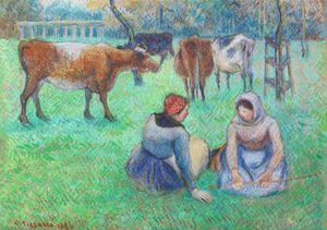 Paysannes assises gardant des vaches by Camille Pissarro contemporary artwork