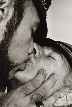 Jay and Fernando [Two Men in Leather Kissing] by Peter Hujar contemporary artwork