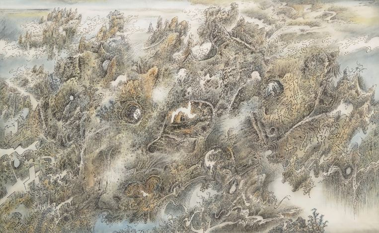 Leung Kui Ting 梁巨廷 (b.1945) Mountains and Rocks 《山石圖》 2014 Ink and Colour on Silk 88 x 140 cm ; Courtesy of the Artist and Hanart TZ Gallery