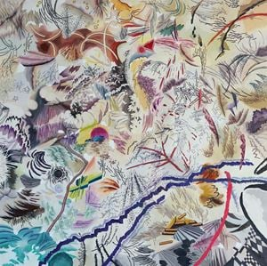 사신으로 변신하는 투명한 티라노의 이글거림 by Woo Tae Kyung contemporary artwork painting, works on paper