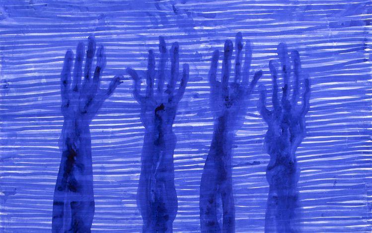 Barthélémy Toguo, Partage VII(2020). Ink on canvas. 205 x 195cm.© Barthélémy Toguo. Courtesy Galerie Lelong & Co. & Bandjoun Station.