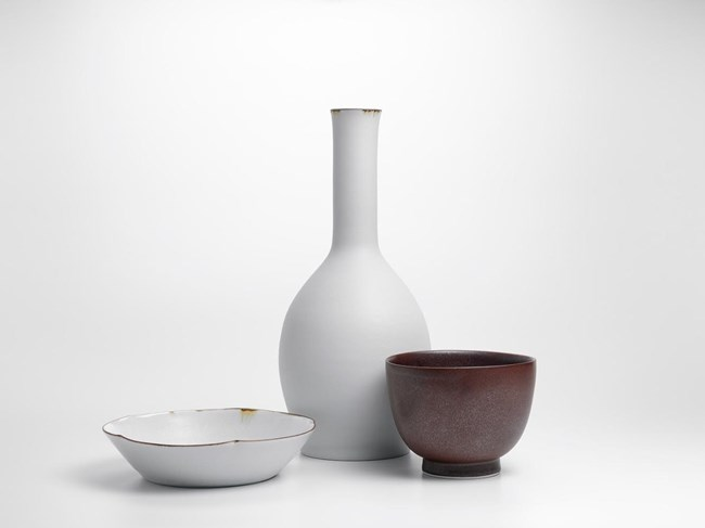 Vase with Two Bowls (1) by Kirsten Coelho contemporary artwork