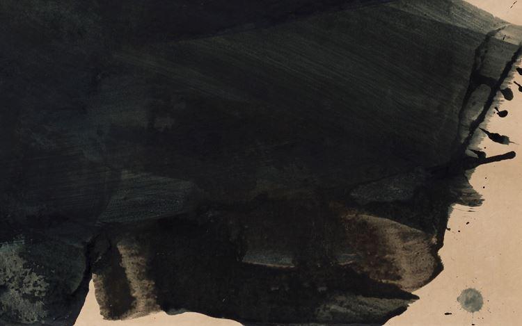 Mary Weatherford, night sky, Nikko (2019) (detail). Shellac ink on Gampi Torinoko paper. 22 1/2 x 30 1/8 inches, framed:24 3/4 x 32 3/8 x 1 1/2 inches. CourtesyDavid Kordansky Gallery, Los Angeles. Photo: Fredrik Nilsen Studio.