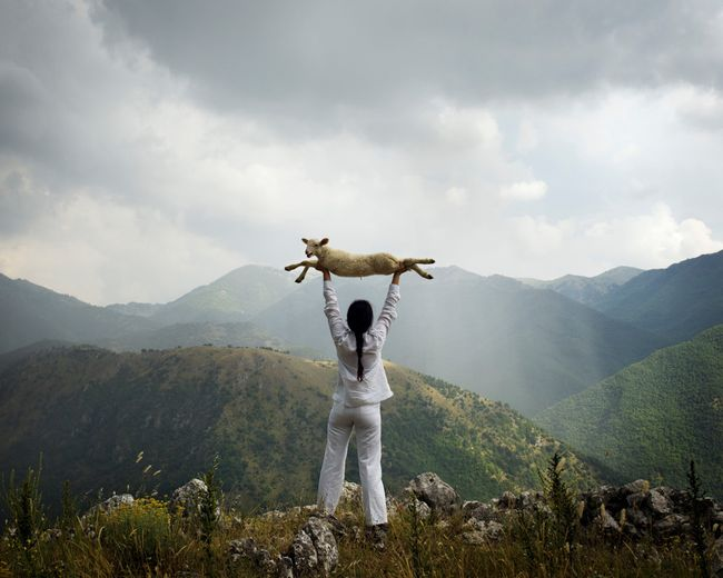 Holding the Lamb (from the series: Back to Simplicity) by Marina Abramović contemporary artwork