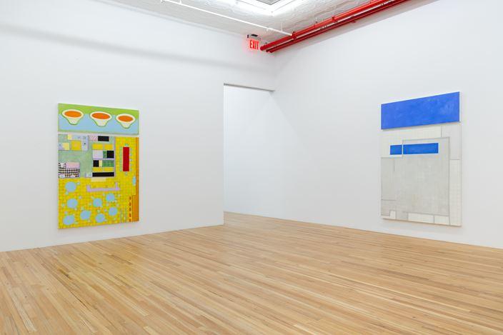 Exhibition view: Kim Dingle,Restaurant Mandalas, Andrew Kreps Gallery, New York (8–17 September 2020). Courtesy Andrew Kreps Gallery, New York. Photo: Daniel Terna.