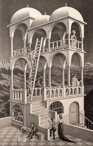 Belvedere by M.C. Escher contemporary artwork print