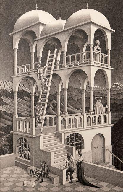 Belvedere by M.C. Escher contemporary artwork