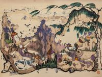 Untitled (Fantasy Village with Pine Tree) by Luis Chan contemporary artwork works on paper