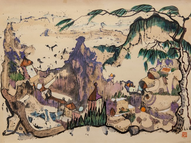 Untitled (Fantasy Village with Pine Tree) by Luis Chan contemporary artwork