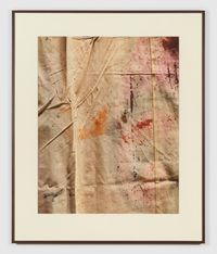 Back of a scenic floor cloth labelled 'Act II'. Ball scene. Synthetic dyes on sized canvas by João Penalva contemporary artwork photography