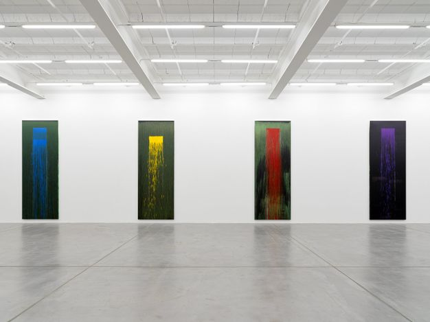 Exhibition view: Pat Steir & Ugo Rondinone, waterfalls & clouds, Galerie Eva Presenhuber, Maag Areal, Zurich (4 September–16 October 2021). © the artists. Courtesy the artists and Galerie Eva Presenhuber, Zurich / New York.