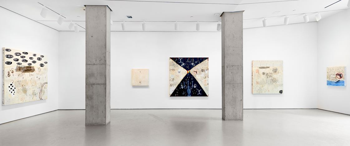 Exhibition view:Squeak Carnwath, Not All Black and White, Jane Lombard Gallery, New York (21 February–30 March 2019). Courtesy Jane Lombard Gallery.