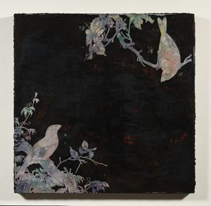 Imitating Mother-Of-Pearl Inlay Exercise (Two Birds Against Dark Background) by Su Meng-Hung contemporary artwork painting