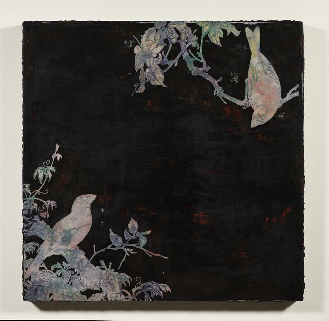 Imitating Mother-Of-Pearl Inlay Exercise (Two Birds Against Dark Background) by Su Meng-Hung contemporary artwork