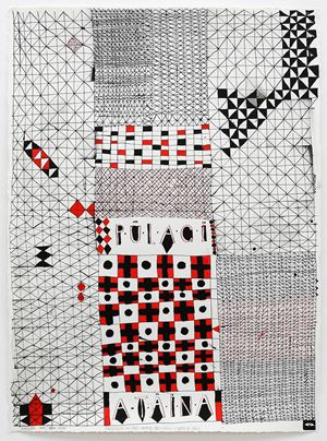 Freedom in the space between earth and sky (Pulagi – Ataina) by John Pule contemporary artwork painting, works on paper, drawing