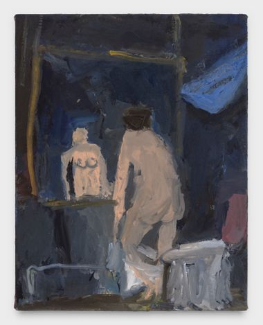 Nude in Front of Mirror, 2021. Oil on canvas, 14 x 11 in. Courtesy Thomas Erben Gallery.