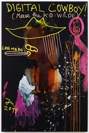 """HALLO: THIS PAINTING HATES YOU!"" by Jonathan Meese contemporary artwork"
