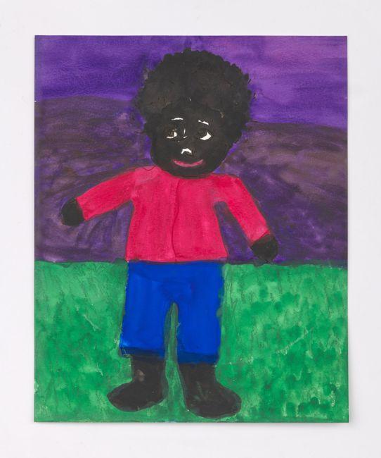 Boy on Green Grass with Purple Sky by Betye Saar contemporary artwork