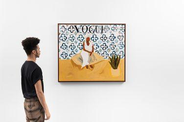 Elian Almeida, Tia Maria do Jongo (Vogue Brasil) (2021). Acrylic paint on canvas. 94 x 109 x 4 cm. Courtesy Galeria Nara Roesler.