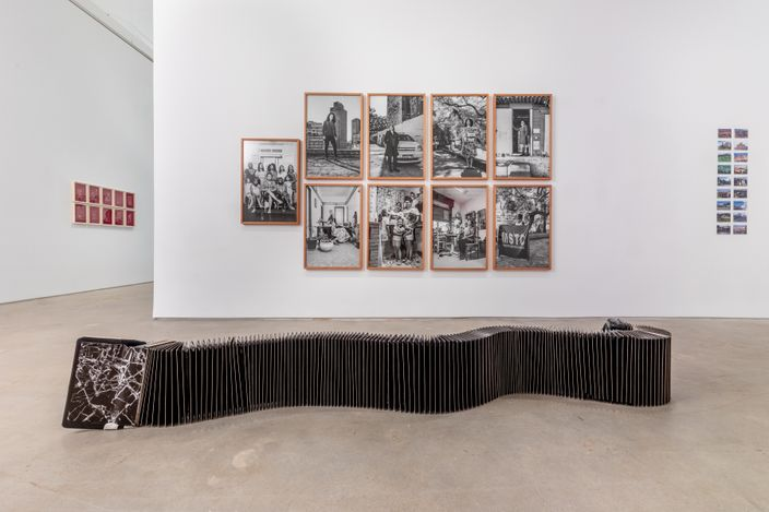 Exhibition view: Group Exhibition, on the shoulder of giants curated by Raphael Fonseca, Galeria Nara Roesler, New York (24 June–20 August 2021). Courtesy Galeria Nara Roesler.