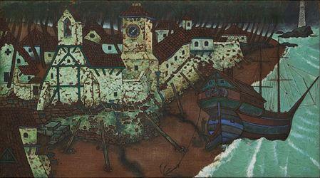 A. A. Raiba, Bassein Creek (1960). Oil on jute. 80 x 145 cm / 31.4 x 57 in. CourtesyGalerie Mirchandani + Steinruecke.