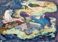 Untitled (Fantastic Landscape with Animals) 《無題》(奇幻風景與動物) by Luis Chan contemporary artwork works on paper