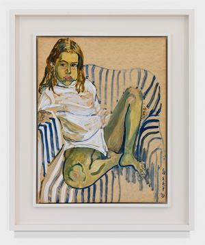 OLIVIA IN A STRIPED CHAIR by Alice Neel contemporary artwork