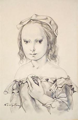Portrait de jeune fille by Léonard Tsuguharu Foujita contemporary artwork