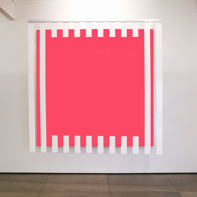 Colors, light, projection, shadows, transparency: situated works pink by Daniel Buren contemporary artwork
