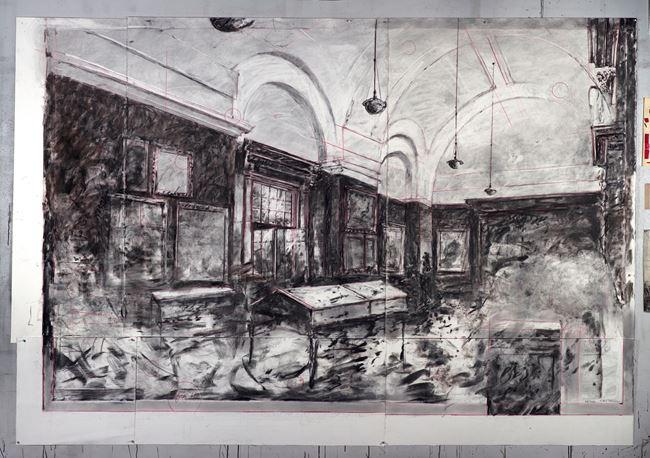Drawing for City Deep (Johannesburg Art Gallery Interior) by William Kentridge contemporary artwork
