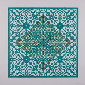 Ephemeral Bloom - Teal by Anila Quayyum Agha contemporary artwork