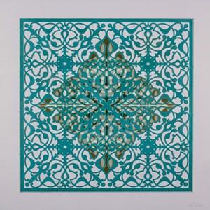 Ephemeral Bloom - Teal by Anila Quayyum Agha contemporary artwork