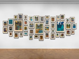 Exhibition view: Marcel Dzama,Who Loves the Sun, David Zwirner, 69th Street, New York (8 September–23 October 2021). Courtesy David Zwirner.