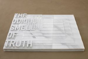 untitled 2020 (the odious smell of truth) (three flags, 1958) by Rirkrit Tiravanija contemporary artwork