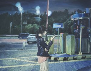 Night-Parking Lot-Message by Dongwook Suh contemporary artwork