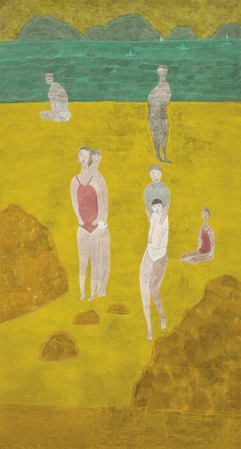 Mother and Son on The Beach by Chu Hing-Wah contemporary artwork
