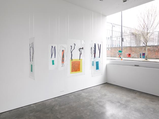 Exhibition view: Dom Sylvester Houédard, tantric poetries, Lisson Gallery, Lisson Street, London (12 March–31 July 2020). Courtesy Lisson Gallery.