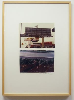 Top: Entrance Highway to Los Angeles,1974 Bottom: View from Inside Highway Restaurant, Jersey City, 1969 by Dan Graham contemporary artwork