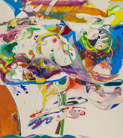 Young Do Jeong,Don't look back in anger (2020–21). Acrylic, colour pencil, and graphite on canvas,208 x 185 cm.Courtesy the artist & PKM Gallery.