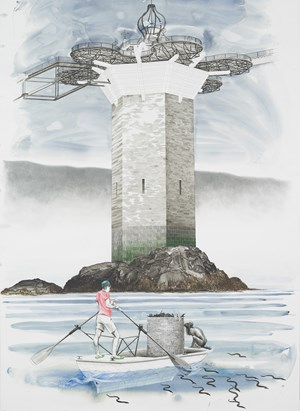 Untitled (Onomatopoeia Harbour Gate, West Tower, with Oarsman in foreground) by Charles Avery contemporary artwork