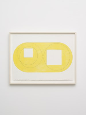 Two open squares within a yellow area study by Robert Mangold contemporary artwork