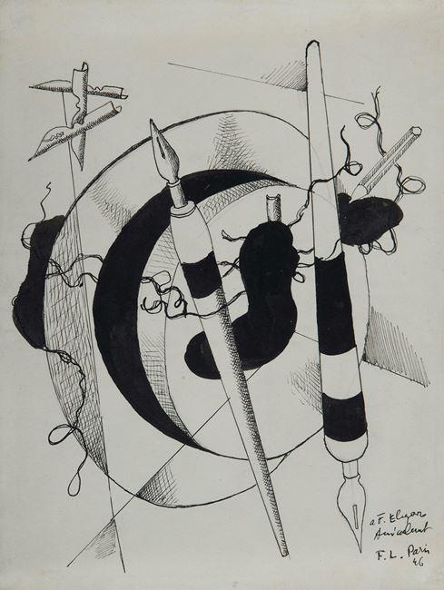 Composition aux porte plumes et crayon by Fernand Léger contemporary artwork