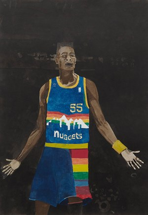D. Mutombo by Jonas Wood contemporary artwork